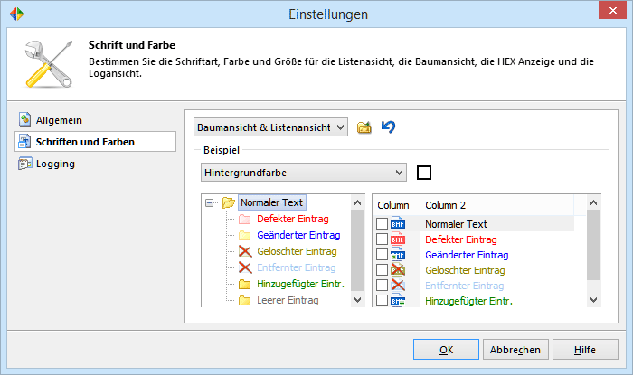 Customize dialog